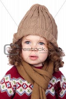 Beautiful baby girl with wool cap
