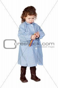 Beautiful girl with preschool uniform