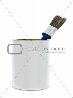 Paint can with blue can