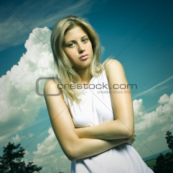 blond girl in white shirt outdoor