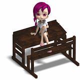 cute little cartoon school girl sitting on a school form