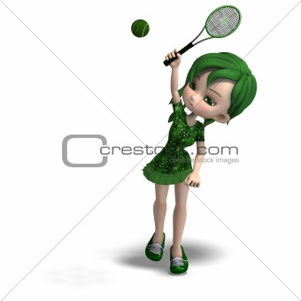 toon girl in green clothes with racket and tennis ball