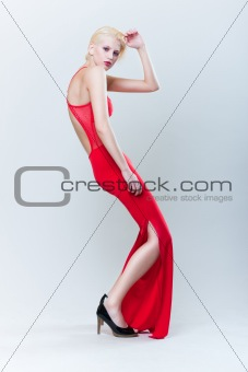 attractive blond girl in red dress