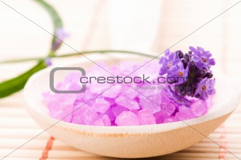lavender flower and bath salt. spa and wellness