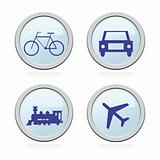 Travel and transportation blue icons