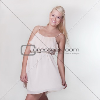 attractive blond girl smile