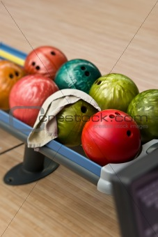 Bowling balls in the rack