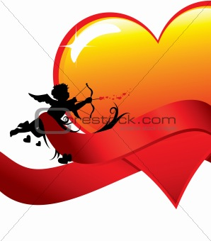Valentine background with cupid and heart