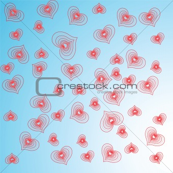 Abstract red hearts.Vector illustration