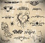 vector set: calligraphic vintage design elements