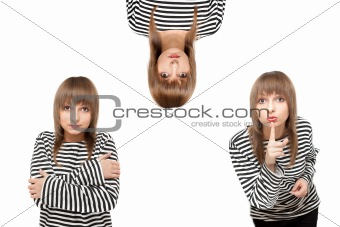 Girl in striped cloth