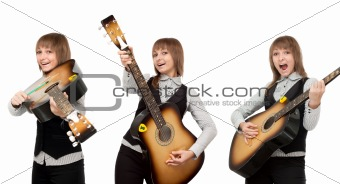 Girl with guitar in miscellaneous pose