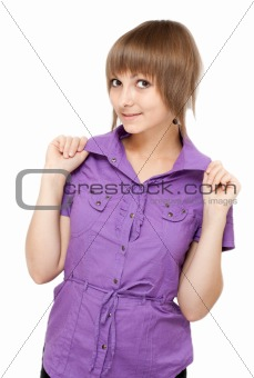 Young girl in violet blouse flirts