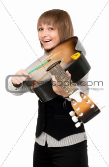 Young girl with guitar in type of the violin