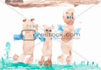 Baby drawing three bears