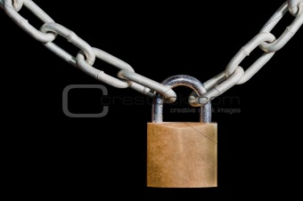 Brass padlock and chain on black