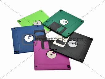 Floppy diskettes on a white background