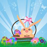 Easter Eggs Bunny Rabbit in Basket