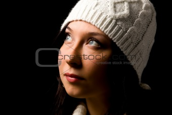Cute woman with wool hat