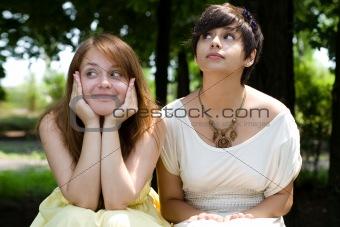 Beautiful girls posing in the park