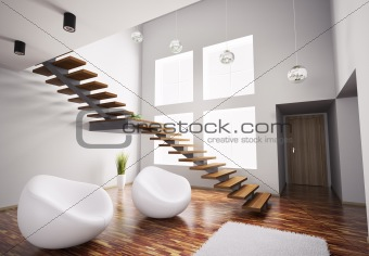 Modern interior with white armchairs and staircase 3d