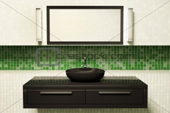 Black washbasin mirror and lamps 3d