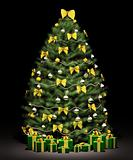 Christmas fir tree with decorations 3d render