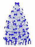 Christmas fir tree isolated over the white 3d render