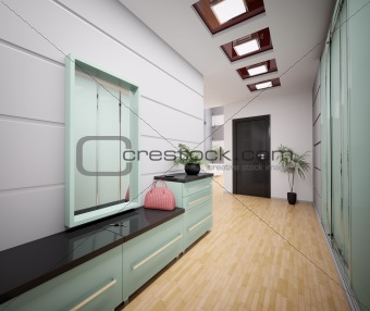 Interior of modern entrance hall 3d