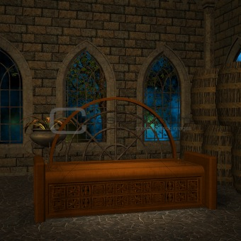 beautiful illuminated window in a fantasy room