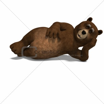 cute and funny toon bear takes a little sleep