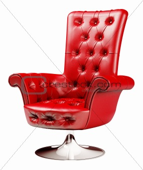 Red armchair with clipping path 3d