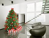 Christmas tree in the modern room interior 3d