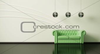 Green sofa in room 3d
