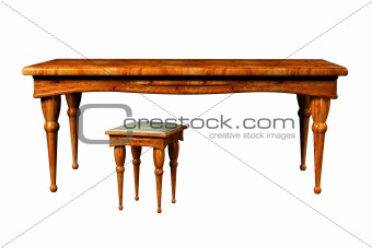 Antique Table and stool 3d