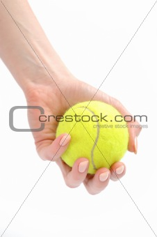 beautiful hands holding tennis ball