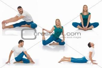 Group of photos of  active man and woman doing yoga fitness pose