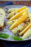 appetizer of fresh pear cheese and chocolate