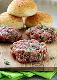 raw minced meat for hamburgers
