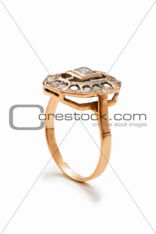 Precious ring isolated on the white background