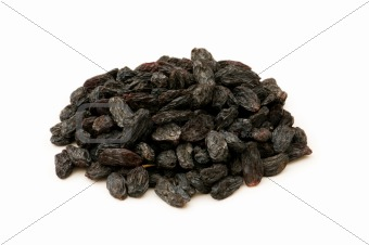 Black raisins isolated on the white background