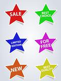 set of different labels star - shaped