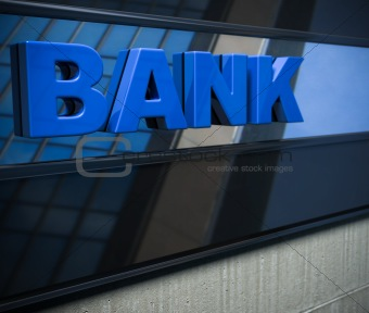 blue bank sign on a facade with perspective