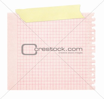 red squared paper stuck with yellow tape