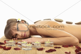 Young woman at spa center