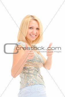 Attractive smiling blonde with thumbs up