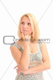 Attractive blonde thinking