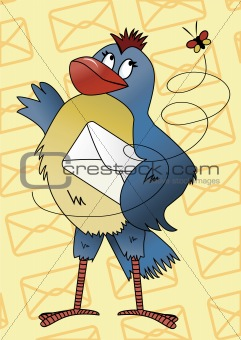 Blue bird with an envelope