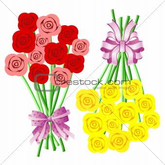 Bouquets of Roses with Bows and Ribbons