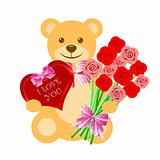 Teddy Bear with Rose Bouquet and Heart Box